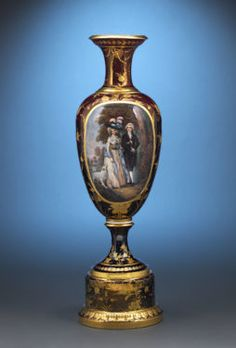 """Royal Vienna Manufactory vase featuring a reproduction of Gainsborough's """"The Morning Walk"""" - See more at: https://www.rauantiques.com/blog/fine-art-of-the-georgian-era/#sthash.nA0T8fFd.dpuf"""