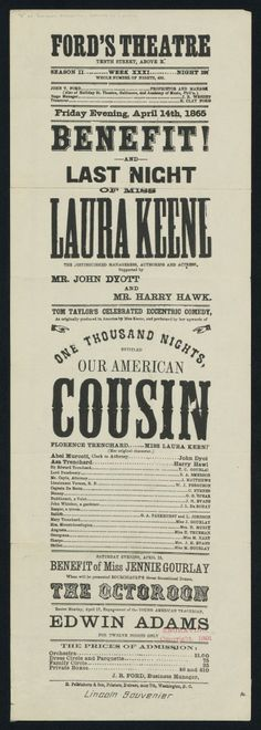 Playbill from Ford's Theatre on the Night of Abraham Lincoln's Assassination