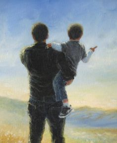Father and Son Print, dad, boy paintings, prints, kids decor, wall art, childrens art, fathers day, farmer, figure, Vickie Wade art.