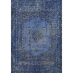 Pasargad Overdyed Hand-Knotted Blue Area Rug