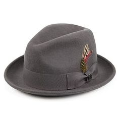 Jaxon Hats Crushable Blues Trilby - Grey with Grey Band from Village Hats.