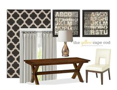 The Yellow Cape Cod: Gray/Tan Transitional Style Multiroom Design Part II New England Decor, Alphabet Print, Transitional Style, Cape Cod, Design Projects, Family Room, Curtains, Gray, Yellow