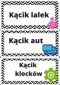 MAŁE pomysły - DUŻE inspiracje: Back to school #1 - etykietki do kącików zainteresowań Teacher Inspiration, Kids And Parenting, Playroom, Back To School, Kindergarten, Preschool, Education, Love, Game Room Kids