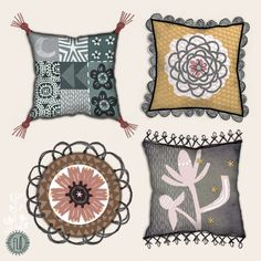 Fabric products - 4 cushions -for home decor @makeartthatsells. by Laurence Lavallee www.akaflo.com