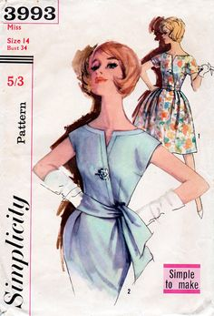 1960s Evening Cocktail or Day Dress Two Skirts by BessieAndMaive ~ Love this bodice design