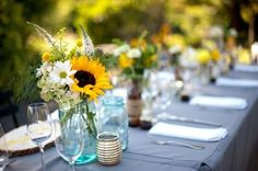 rustic Mason Jar Centerpieces sunflower | and mason jars, sunflowers and roses, fall bridal bouquets, rustic ...