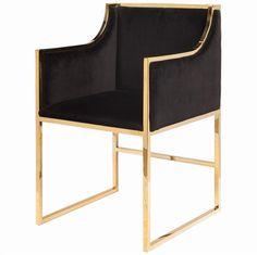 Anastasia Hollywood Regency Black Velvet Brass Frame Dining Chair
