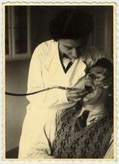 Date:	1935 - 1941  Locale:	Riga, [Vidzeme] Latvia  Credit:	United States Holocaust Memorial Museum, courtesy of Yael Sela  Copyright:	United States Holocaust Memorial Museum    Ella (nee Schapiro) Javorkovsky, the aunt of the donor, performs dentistry on a patient in Riga, Latvia.    She was killed by the Einsatzgruppen in the forests outside Riga in November 1941.