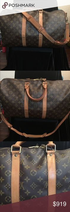 Louis Vuitton Keepall 45 with strap LV Monogram Canvas Keepall 45 with strap and lock  but no Overall good condition Louis Vuitton Bags Travel Bags
