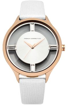 This French Connection ladies's watch has a stainless steel case and black metallic leather strap, featuring a silver sunray dial . French Connection, Metallic Leather, Stainless Steel Case, Omega Watch, Watches, Clothes For Women, Lady, Silver, Accessories