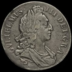 1696 William III Early Milled Silver Octavo Crown, First Bust, AVF