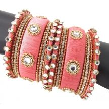 9blings Bridal Baby Pink 18 Pc Cz Gold Plated Silk Thread Bangle Set Tr35