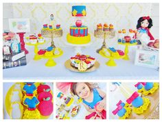 Snow White Birthday Party Themes Red Blue Yellow Apple Disney Princess Girls Kids