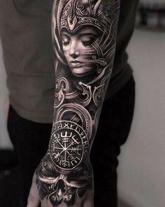 Viking Tattoos Discover Scandinavian images in Mumias tattoos Tattoo artist Mumia authors style black&grey portrait surrealistic realism tattoo Viking Tattoo Sleeve, Viking Tattoo Symbol, Norse Tattoo, Viking Tattoo Design, Tattoo Symbols, Viking Tattoos For Men, Arm Tattoos For Guys, Trendy Tattoos, Men Arm Tattoos