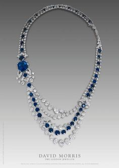 Sapphire Necklace with 46ct Cushion Cut Burma Sapphire and Oval Diamonds and Sapphires
