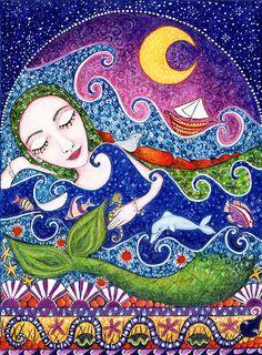 Mermaid Art Print - Whimsical Folk Art - Sea Maid. $20.00, via Etsy.