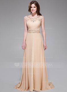 A-Line/Princess Scoop Neck Sweep Train Chiffon Lace Evening Dress With Ruffle Beading Sequins (017041158)