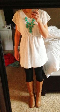 White lace dress, bubble necklace, black leggings, made in the south leather cuff :) country to work lol