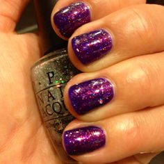 My version of a nail polish jelly sandwich. Sally Hansen Purple Pizzaz with OPI Serving Up Sparkle layered in between. All topped with one coat of Clairins 230, AKA Unicorn Pee.