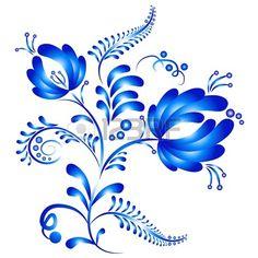 Ornamento floreale in stile Gzhel. Folklore russo. Illustrazione vettoriale Archivio Fotografico