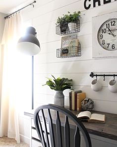 White shiplap | Home office | Industrial modern | Farmhouse Office Space