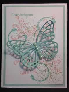 My Creative Corner!: A Butterfly Thinlit Touches of Texture and Timeless Textures Anniversary Card