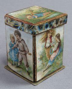 ANTIQUE VICTORIAN THIMBLE & NEEDLE BOX or CASE c 1870s - SMALL / MINIATURE