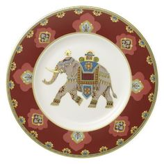 """Villeroy & Boch Samarkand Rubin Salad Plate Elephant by Villeroy & Boch - Bone China. $39.99. Brand New - First Quality. Dimensions: 8 1/2"""" Dia. Salad Plate Elephant - The Samarkand Bone China Collection By Villeory & Boch Combines Stylish, Exotic Elements With Timeless Elegance. Precious Golden Bands And Chains Decorate This Pure White Bone China Pattern. Warm Ivor - Made In Germany Salad Plates, China Clay, Assiette Dessert, Dinnerware, China Painting, Teller, Decoration, Decorative Plates, Decoupage"""