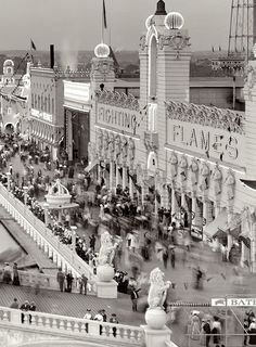 Coney Island, New York, circa 1905. Dreamland at twilight.