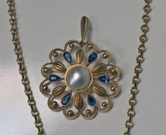 Rare David Andersen 14K Gold Pearl Sapphire Necklace, Brooch and Earrings C.1950 | From a unique collection of antique and modern miscellaneous jewelry at https://www.1stdibs.com/furniture/more-furniture-collectibles/miscellaneous-jewelry/