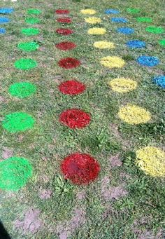 Genius outdoor fun - Twister on the lawn! Perfect for kids parties or class activity. Could do any kind of game/game board like this. Individual Bingo cards, CandyLand style board game....