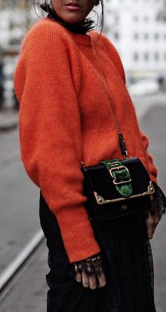 winter trends | red knit sweater + bag + lace blouse + skirt
