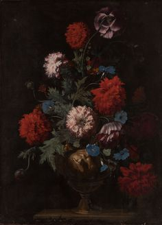 Lot 10 | FOLLOWER OF CAREL VAN VOGELAER, CALLED CARLO DEI F | A Still Life with Opium Poppies, Convolvuli and other Flowers, all in a Sculpted Vase Decorated with Putti, on a Stone Table | #AEAONESALE #AEAOldMasterPaintings #ArtEuropeAuctions | 13 December Amsterdam | Browse our catalogue @ http://arteuropeauctions.com/