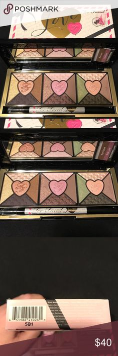 Too Faced Love Eyeshadow & Eyeliner Palette New Too Faced Love Eyeshadow & Eyeliner Palette New Authentic ,passionately pretty eyeshadow collection, 15 eyeshadows,black waterproof eyeliner. I love this palette very pigmented and a lot of shadow colors. I use regularly. Sephora Makeup Eyeshadow
