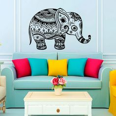 Wall Decal Vinyl Sticker Decals Art Home Decor Design Murals Indian Elephant Floral Patterns Mandala Tribal Buddha Ganesh Bedroom Dorm