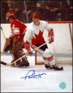 Autograph Authentic Paul Henderson Team Canada Autographed 1972 Summit Series Action 16 x 20 in. Photo, As Shown Hockey Games, Hockey Players, Ice Hockey, Hockey Boards, Summit Series, O Canada, Vancouver Canucks, Nfl Fans, National Hockey League