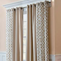 Grommet Top Insulated Curtain Pair-Trellis Print                              …
