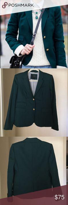 J. Crew Green Schoolboy Blazer Italian wool blazer, classic J. Crew schoolboy tailoring, in a stunning emerald green with gold buttons. Worn twice. In like new condition. J. Crew Jackets & Coats Blazers