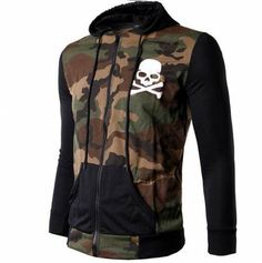 Hip hop skull baseball style hoodie with zipper for men slim fitness camo hooded sweatshirts