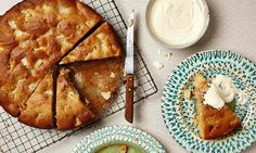 Photograph of Thomasina Miers' pear, rosemary and olive oil cake