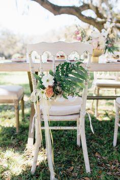 pretty chair flowers | Hannah Lane