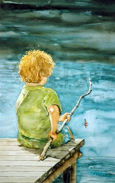 Fishing,watercolor, blue,water,boy,made by Irma Troost