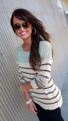 Great sweater - the color, stripes, and the weight of the material are all great