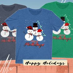 Happy Holidays, Christmas Holidays, Merry Christmas, Goodie Bags, Gift Bags, Graphic Tee Shirts, Holiday Gifts, Christmas Sweaters, Snowman