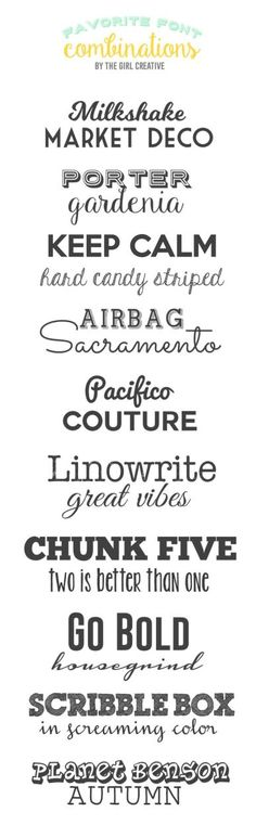 Favorite Font Combinations - Fonts, fonts and more fonts! This is a collection of my favorite font combinations and they are all FREE! #design #cards #crafts