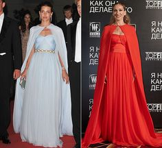 Caped: Monaco Royal Charlotte Casiraghi in ice blue Giambattista Vali at the wedding of her uncle HSH Prince Albert of Monaco in July 2011 / Sarah Jessica Parker in red Giambattista Vali Celebrity Gowns, Celebrity Red Carpet, Chic Dress, Dress Up, Elegant Dresses, Beautiful Dresses, Fiesta Outfit, Red Carpet Gowns, Gala Dresses