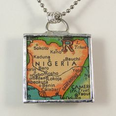 Nigeria Vintage Map Pendant Necklace by XOHandworks $20