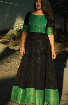 Designer saree blouse patterns - Buy Designer Gowns online from VinothnaDesigns Long Dress Design, Dress Neck Designs, Fancy Blouse Designs, Designs For Dresses, Saree Blouse Designs, Long Gown Dress, Frock Dress, Sari Dress, The Dress