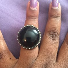 Black stone ring Large black stone in bronze setting Jewelry Rings