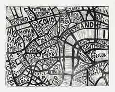 Typographic Linocut Map of Central London by Abigail Daker Draw Map, Central London Map, Diy Collage, Hansel Y Gretel, Map Design, Design Ios, City Maps, Vintage Maps, Plans